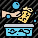 cleaning, soak, soap, sponge, water icon