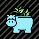pot, hippopotamus, form, house, plant, houseplant