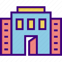 building, house, mall, office, open building, open door, property icon