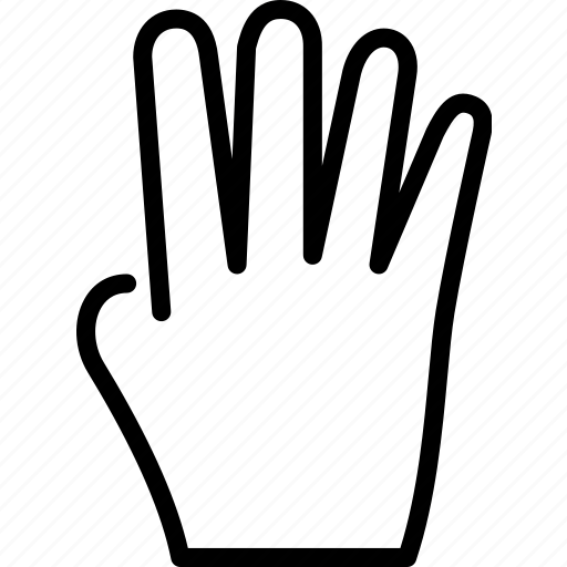 fingers, four, gesture, hand icon