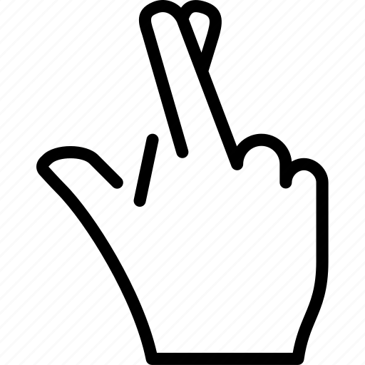 cross, fingers, gesture, hand, luck icon