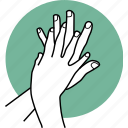 fingers, hands, interlace, sanitize icon