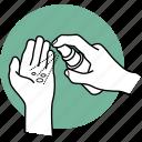 disinfect, hand, hands, sanitize, sanitizer, spray, sterilize icon
