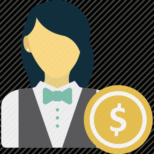 business woman, entrepreneur, financer, investor icon