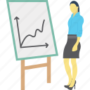 analyst, chart analysis, lecture, presentation icon
