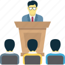 business conference, business meeting, business presentation, lecture icon