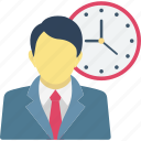 man with clock, personal time management, appointment icon