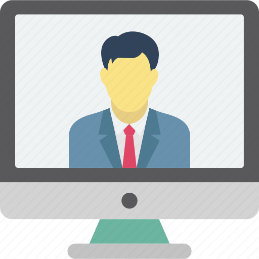 online call, remote employee, video calling, video chat icon