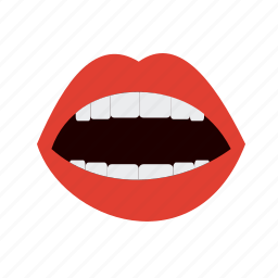 face, lips, mouth, open, smile, teeth, tongue icon
