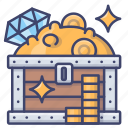 wealth, chest, treasure, box