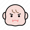 angry, baby, emoji, human face icon