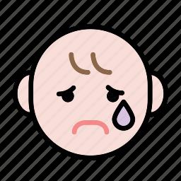 baby, emoji, human face, sad icon