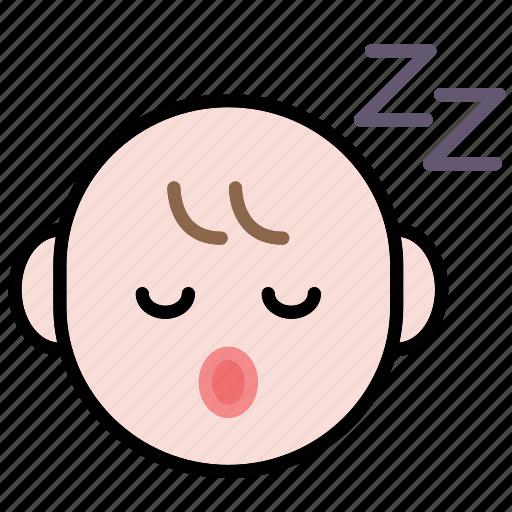 baby, emoji, human face, sleepy icon