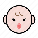 baby, emoji, human face, surprise icon
