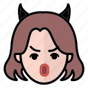 angry, emoji, human face, woman1 icon