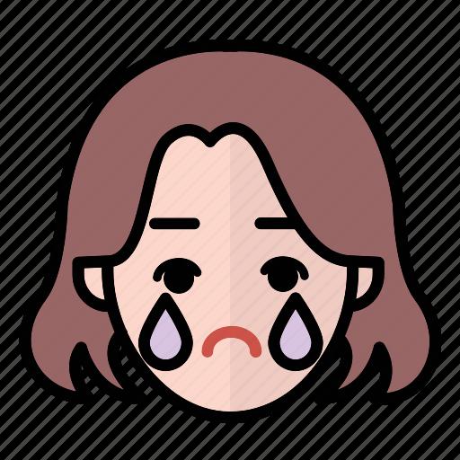 emoji, human face, sad, woman1 icon