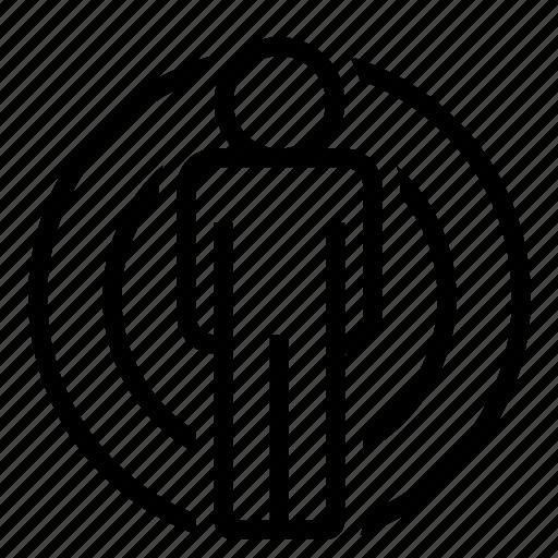 broadcast, influence, man, marketing, person, tweet, wave icon