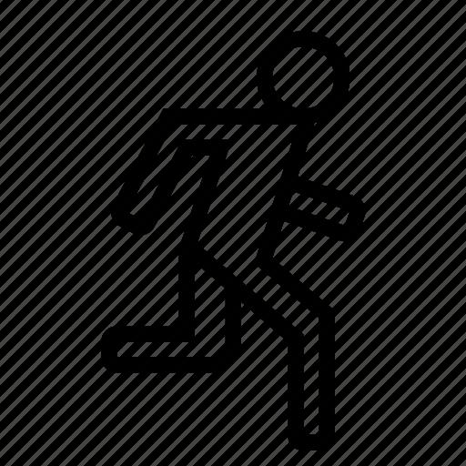 jogging, man, moving, person, run, running, rushing icon