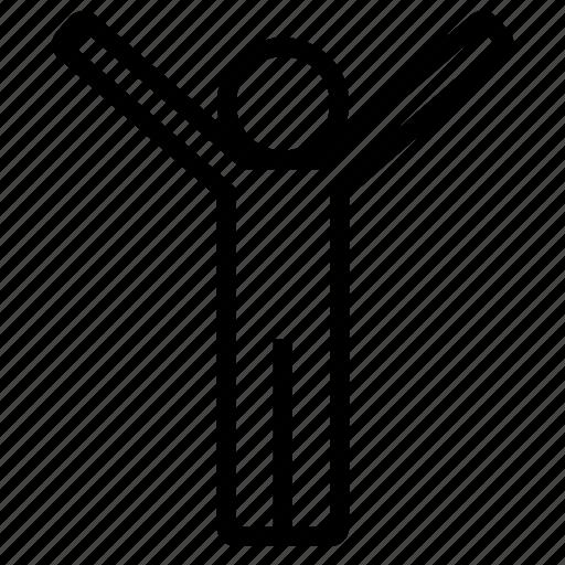 champion, happy, joyful, man, raising hand, win, winner icon