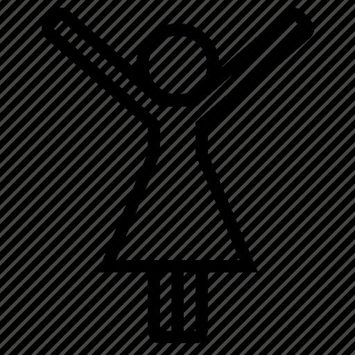 female, girl, happy, joy, raise hands, win, woman icon