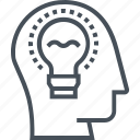 brain, bulb, creative;, design, idea, light, smart icon