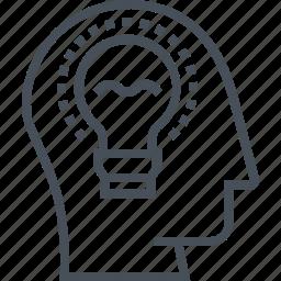brain, bulb, creative;, design, idea, light, smart icon