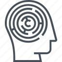 brain, head, inside, maze, mind, profile, puzzle icon