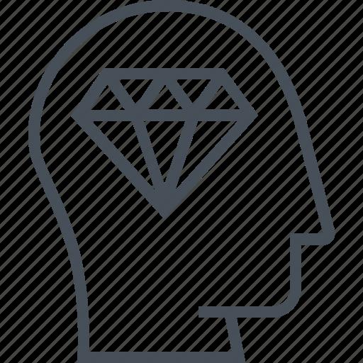brain, coder, diamond, finance and business, head, idea, jewel icon