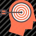 aim, arrow, goal, head, success, target, user icon