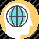 global, green, sustainable, think, thinking, world icon
