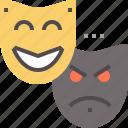 actors, emotion, emotional, mask, masks, mood, theater icon