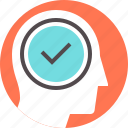 acceptance, approval, checkmark, confirmation, head, mind, success icon
