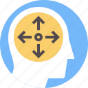 development, expansion, learning, mental, mind, space, transform icon