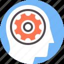 brain, cog, mechanism, mental, process, think, wheel icon