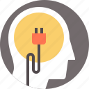 brain, cord, mind, outlet, person, power icon