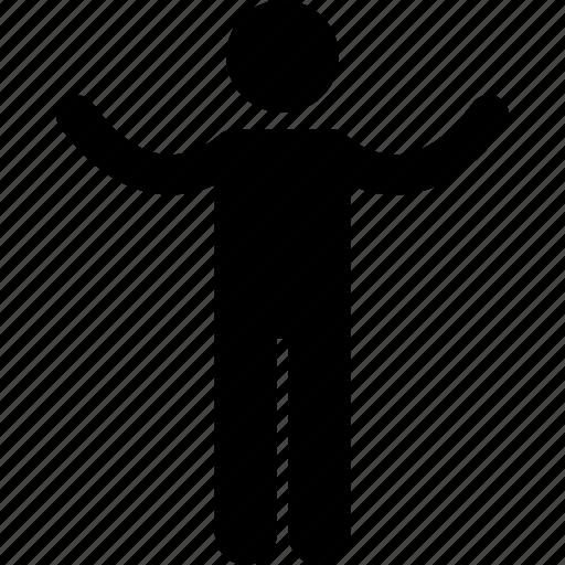 hands, human, man, people, pose, raising, standing icon