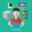 computer, designer, desk, process, workspace icon