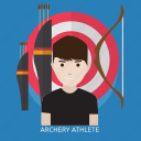 archery, archery atlet, arrow, atlet, bow, competition, target icon