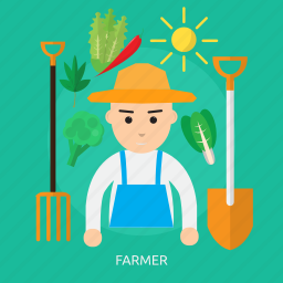 agriculture, farmer, house, nature, profession, vegetables icon