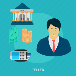 bank, banking, customer, male, people, service, teller icon
