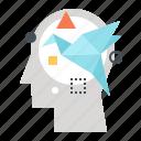 creativity, head, human, imagination, inspiration, mind, thinking icon