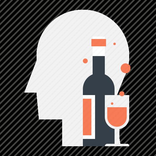 addiction, alcohol, bottle, head, human, mind, wine icon
