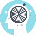 head, human, hypnosis, mind, spiral, swirl, thinking icon