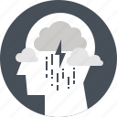 depression, head, human, mind, rain, sadness, thinking icon