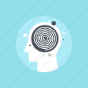 head, human, hypnosis, mind, spiral, swirl, thinking icon
