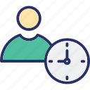 clock, deadline, man, punctual icon