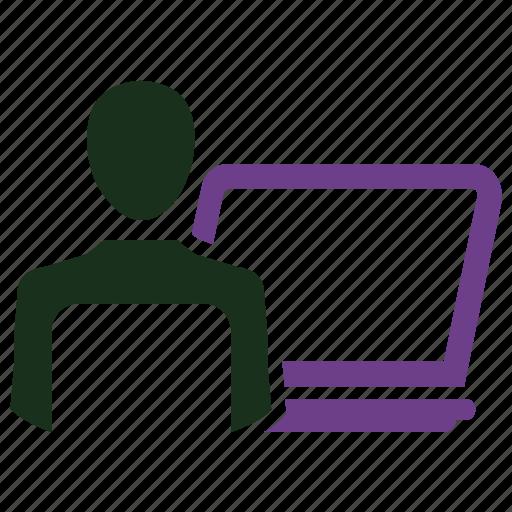 cubicle, job, laptop, office, working, working man icon