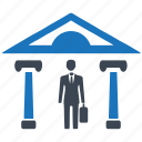 architecture, bank, business man, businessman, office icon