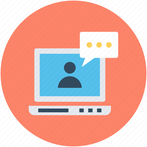 laptop, video call, video chat, video conference, voice chatting icon