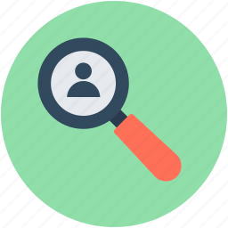 find friend, find person, magnifier, searching man, user icon
